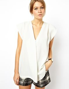 Image 1 of ASOS Tunic with Plunge Neck and Origami Detail     Image 2 of ASOS Tunic with Plunge Neck and Origami Detail     Image 3 of ASO...