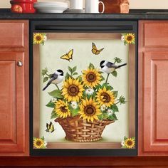 Beautiful Sunflowers and Birds Dishwasher Magnet Kitchen Decor 23 x 26 Inches - Kitchen Ideas Dishwasher Cover, Dishwasher Magnet, Kitchen Decor Themes, Home Decor Kitchen, Kitchen Ideas, Dining Decor, Kitchen Redo, Room Kitchen, Country Kitchen