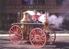 old fire engines | Fred Conway on top of the 1875 Village Steam Fire Engine