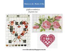 Confira gráficos para bordar em ponto cruz, ao estilo romântico, no blog Universo da Moda & Cia.