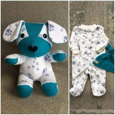 Keepsake Memory Puppy Dog Stuffed Animal: upcycled from your fabric hospital blanket sleepers baby clothes baby blanket clothing Sewing Stuffed Animals, Diy Bebe, Baby Sleepers, Sock Animals, Baby Animals, Baby Memories, Baby Keepsake, Handmade Felt, Baby Crafts