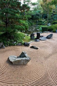 zen garden- need a small one near one of the ponds Japanese Rock Garden, Zen Rock Garden, Zen Garden Design, Japanese Landscape, Japanese Garden Design, Garden Stones, Japanese Architecture, Landscape Design, Japanese Gardens