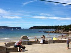 """Balmoral Beach, Sydney as seen from Bathers Pavillion Restaurant / """"The Heads"""" - North (left) and South Head - can be seen in the distance"""