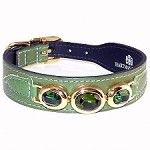 Regency Italian Leather Triple Swarovski Crystal Dog Collar - Lime Green
