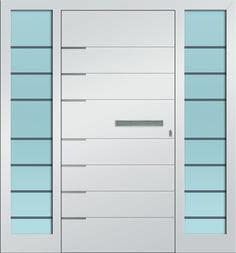 Sternstunden Eingangstüre POLARIS 8 - Aluminiumtüre mit 2 Seitenteilen außen weiß. Besuchen Sie unseren Schauraum in Gramastetten - dort haben wir einige unserer Haustürmodelle ausgestellt. #Fensterschmidinger #doors #türen #alu #gramastetten #oberösterreich