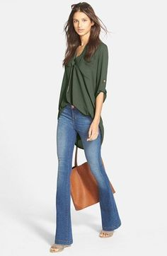 Rolled up sleeve shirt (are flared leg jeans coming back in style?)
