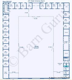 20 Stall Arena Horse Barn Design Plan... awesome idea to combine indoor arena and stalls.
