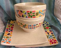 Vajilla De Cerámica Artesanal Pintada A Mano - $ 250,00 en MercadoLibre Pottery Kiln, Pottery Plates, Ceramic Pottery, Pottery Art, Ceramic Tableware, Ceramic Clay, Ceramic Painting, Porcelain Ceramics, Pottery Painting Designs