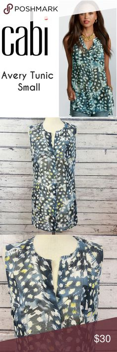 """CAbi Avery Tunic Sheer Sleeveless Blue Small Top Super cute CAbi Avery Tunic Sheer Sleeveless Blue Small Top. Excellent Pre Worn  Fabric is polyester  Measurements are below, taken straight across with the garment laying flat.   Bust -18, Length -28""""  00930317114em CAbi Tops"""