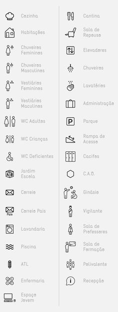 Villa Urbana, Projecto Pictogramas by Daniel Rodriguez, Xesta Studio and Tiago Costa Web Design, Icon Design, Logo Design, Wayfinding Signage, Signage Design, Sign System, Information Design, Environmental Graphics, Drawing Tips