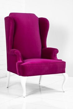 Brixton Wing Chair in Pink Velvet.Maybe if I wanted to go bold I could recover our chair like this? Bedroom Corner, Couple Bedroom, Cool Furniture, Furniture Design, Settee Dining, Velvet Wingback Chair, Patterned Chair, Woman Cave, Pink Velvet
