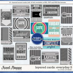 Cindy's Layered Cards: EVERYDAY 5 by Cindy Schneider  Perfect for Project Life!
