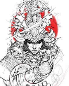 japonés de manga tatuajes de color negro y gris, j Japonés De Manga Tatuajes Croquis Irezumi Tatuajes Japanese Drawings, Japanese Tattoo Designs, Japanese Tattoo Art, Japanese Sleeve Tattoos, Japanese Prints, Japanese Art, Samurai Drawing, Samurai Artwork, Female Samurai Tattoo