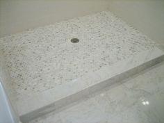 Master bathroom renovation #showertile #marblehexagontile