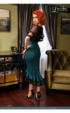 Flamenco Mermaid Skirt in Teal by Deadly Dames, www.pinupgirlclothing.com