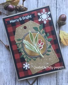 Stampin Up Christmas, Plaid Christmas, Rustic Christmas, Christmas Photos, Christmas Cards, White Paint Pen, Pinecone, Paint Pens, Wood Slices