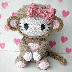 HELLO KITTY MONO AMIGURUMI 27240 Hello Kitty Amigurumi, Crochet Skirts, Crochet Dolls, Crochet Skull, Monkey Pattern, Sanrio, Lana, Crochet Patterns, Felt