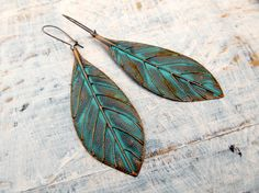 Patina Leaf earrings Patina jewelry by Gypsymoondesigns on Etsy,