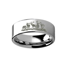 Animal Landscape Scene Five Deer Stag Hunting Ring Engraved Flat Tungsten Ring - 4mm - 12mm