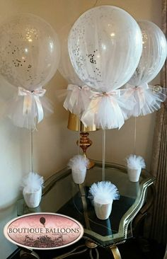 Pink glitter tulle balloons for a special christening – Artofit Tulle Centerpiece, Hot Air Balloon Centerpieces, Diy Hot Air Balloons, Shower Centerpieces, Balloon Decorations, Birthday Decorations, Baby Shower Decorations, Wedding Centerpieces, Wedding Decorations