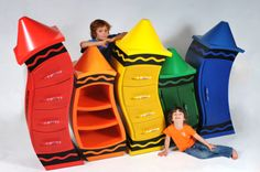 """""""One of our MOST exciting and fun projects has-been the custom furniture piece we've been working on with Crayola Canada. These parts Will Be inspirational fun additions to Their head office in Toronto."""" by Judson Beaumont Unusual Furniture, Funky Furniture, Kids Furniture, Custom Furniture, Furniture Design, Cardboard Furniture, Furniture Plans, Crayon Storage, Straight Line Designs"""