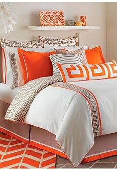 Jill Rosenwald Home Jill Key's Duvet Collection - Guest Bedroom Bed Cover Design, Designer Bed Sheets, Bedroom Orange, Luxury Bedding Sets, Home Design Decor, Design Ideas, Bed Styling, Comforter Sets, Orange Comforter