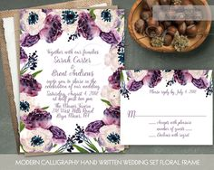Watercolor Floral Wreath Wedding Invitation Printable Wedding Set DIY digital Spring Boho Wedding Calligraphy Purple Floral Wreath Amenomies by NotedOccasions on Etsy https://www.etsy.com/listing/248146783/watercolor-floral-wreath-wedding
