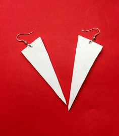 White earrings Jewellery handmade Triangle by MajorMinorShop
