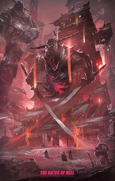 Behemoths & Leviathans III - Digital Arts post - Imgur Fantasy Places, Fantasy World, Dark Fantasy, Environment Concept Art, Environment Design, Fantasy Creatures, Mythical Creatures, Arte Sci Fi, Gates Of Hell