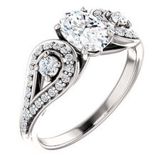 CECILIA style 122002 Vintage-Style Engagement Ring With Tear Drop Side Detail #everandeverbridal