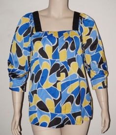 Elle-Blue-amp-Yellow-Geometric-Print-3-4-Sleeve-Square-Neck-Peasant-Blouse-Top-XL
