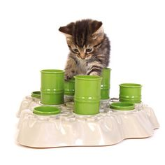 Cat Food Station Interactive Cat Food Bowl - too cute Crazy Cat Lady, Crazy Cats, Cat Activity Centre, Cat Feeding Station, Cat Feeder, Food Bowl, Mundo Animal, Cat Supplies, Pet Bowls
