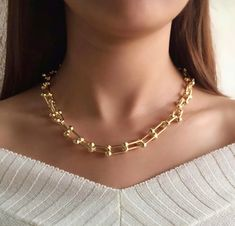 Excited to share this item from my #etsy shop: U Link Chain Necklace or Bracelet, Gold Plated U Link Chain Necklace Bracelet, Chunky Gold Chain Necklace, Tiffany Necklace Bracelet Set Gold Plated Necklace, Pearl Necklace, Tiffany Necklace, Bracelet Set, Gold Chains, Happy Shopping, Room Maker, Etsy Shop, Pearls