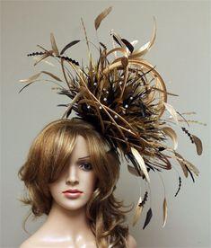 c5538d9aecc47 Large Gold and Chocolate Brown Rhinestone Diamante Feather Fascinator Hat -  wedding