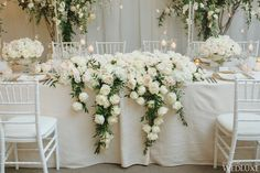 A snowy white summer Canada wedding that is definition of opulence and luxury. Take a look at the gorgeous photography shared by Mango Studios Table Flower Arrangements, Floral Centerpieces, Wedding Centerpieces, Wedding Decorations, Wedding Themes, Head Table Wedding, Bridal Table, Wedding Table Flowers, Mod Wedding