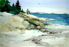 Painting 'Birch Point Revisited', Watercolor