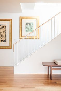 Humphrey Park in Portland, OR by Weedman Design Partners Interior Stair Railing, Modern Stair Railing, Stair Railing Design, Modern Stairs, Modern Basement, Timber Stair, White Stairs, Oak Stairs, Wood Staircase
