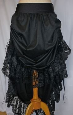 black duchess Satin burlesque bustle skirt Victorian gothic party