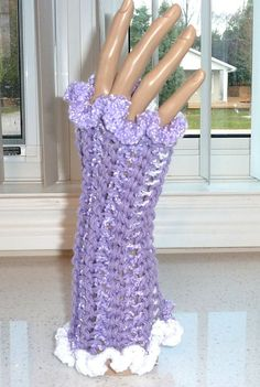 Fingerless Gloves Crocheted Lavender and by SouthamptonCreations, $14.00