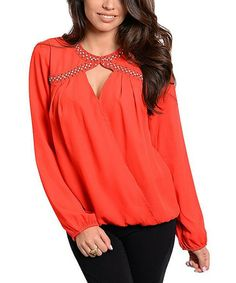 Red & Gold Stud Long-Sleeve Top
