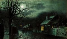 John Atkinson Grimshaw, A cyclist on a cobbled street by moonlight. Private collection Date: 1887 Technique: Oil on canvas, 29 x 49 cm Nocturne, Pictures To Paint, Cool Pictures, Glasgow, Atkinson Grimshaw, Creepy Houses, Country Scenes, Beautiful Moon, Cool Artwork
