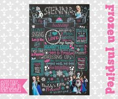Frozen Birthday - Frozen Chalkboard - First Birthday Chalkboard Poster Sign for Birthday Parties - Customized Birthday Chalkboard - Disney Popular Birthdays, First Birthdays, First Birthday Chalkboard, Chalkboard Poster, Frozen Birthday, Diy Tutorial, Party Themes, Best Gifts, Poster Prints