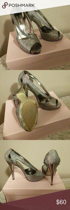 Enzo Angiolini Heels 3 1/2 inch peep toe platform  silver sparkly heels Enzo Angiolini Shoes Heels