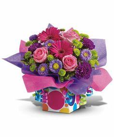 Confetti Present Happy Birthday Bouquet Gifts Ideas Send Flowers Purple