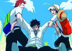 Law, Luffy, Kid - One Piece