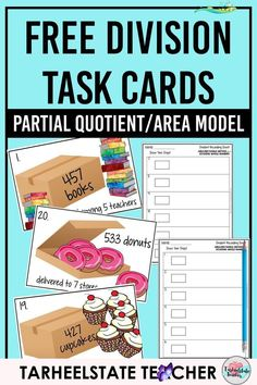 Free Area Model Division Teaching Resource — Tarheelstate Teacher Free DIVIDING WHOLE NUMBERS TASK CARDS | Use these free division task cards for the area model for division, partial quotients, rectangle/box method division, or long division with your 4th grade or 5th grade math students; Division task cards focus on 1<br> Are you preparing to teach division through the AREA MODEL, RECTANGLE/BOX METHOD, or PARTIAL QUOTIENTS METHOD? Well, I've got a free set of division task cards for you… Teaching Division, Math Division, Teaching Math, Long Division Activities, Long Division Game, Kindergarten Math, Box Method Division, 3rd Grade Division, Teaching Ideas