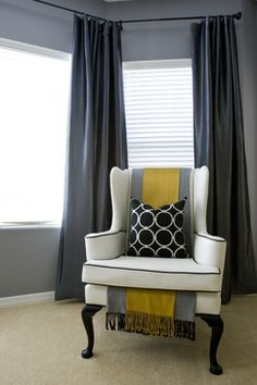 Bedroom grey yellow turquoise Design Ideas, Pictures, Remodel and Decor