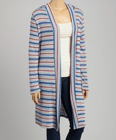 Look what I found on #zulily! Gray & Blue Stripe Hooded Duster - Plus #zulilyfinds