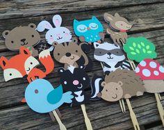 Bosque fiesta Cupcake Toppers - Baby Shower, cumpleaños, partido, decoraciones del partido de Fox