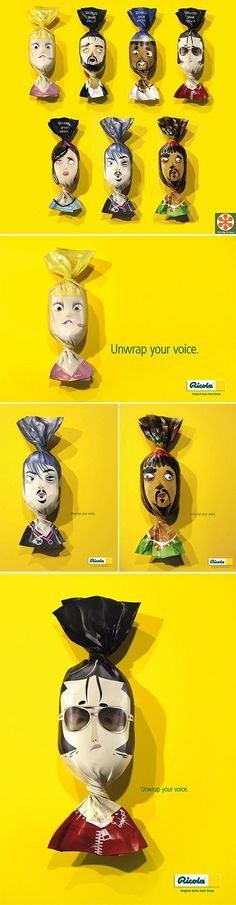 "Ricola's ""Unwrap Your Voice"" Packaging, Ad Campaign and Full Credits http://www.geniuzz.com/c/graficos-diseno/?trackid=130"